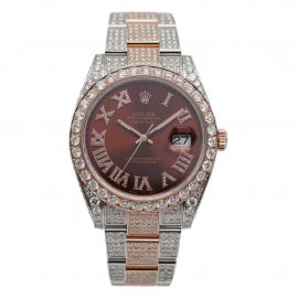 Datejust 41 Stahl / Roségold Iced Out